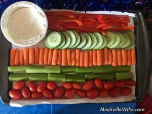 4th of July American flag vegetable tray